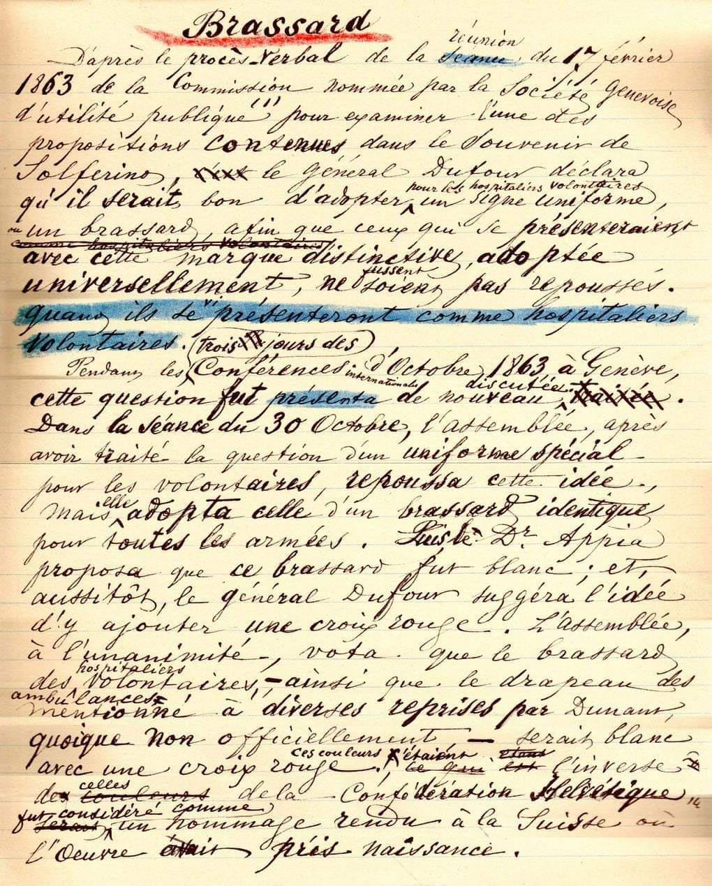 """Manoscritto di Henry Dunant intitolato """"Brassard"""", cioè """"Bracciale""""."""