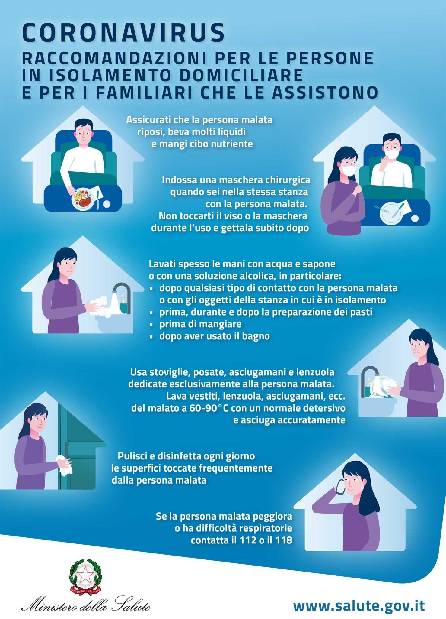 Raccomandazioni per isolamento domiciliare per soggetti affetti da COVID-19