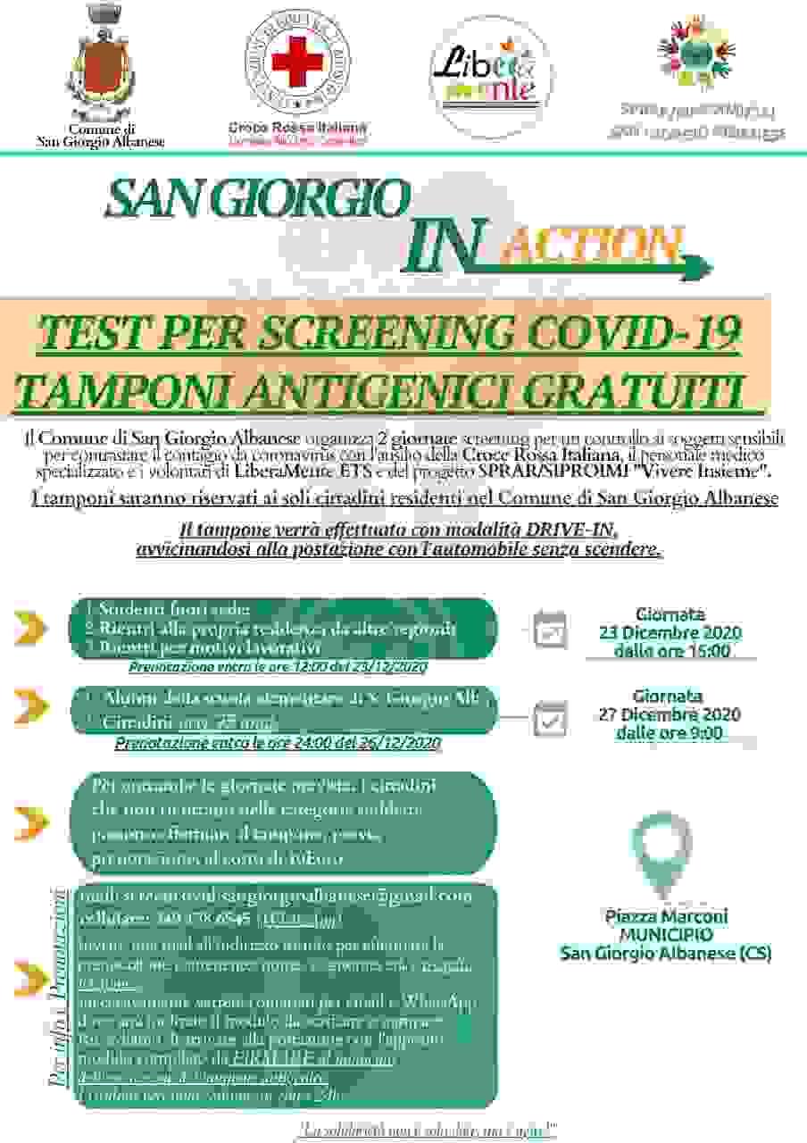 San Giorgio In Action - Tamponi gratuiti a San Giorgio Albanese